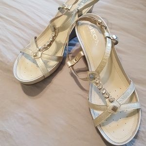 Geox Pat Leather Strappy Wedge Heels w/Rhinestones